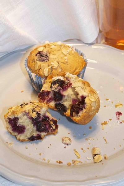 Kwarkmuffins met bosbessen en haver