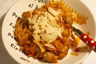 Spaghetti met venkel en chipolataworstjes